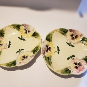 Other - Choisy Le Roi H Boulenger  Pansy Majolica Plates